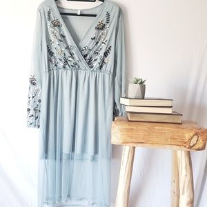NWT Embroidered sheer floral dress